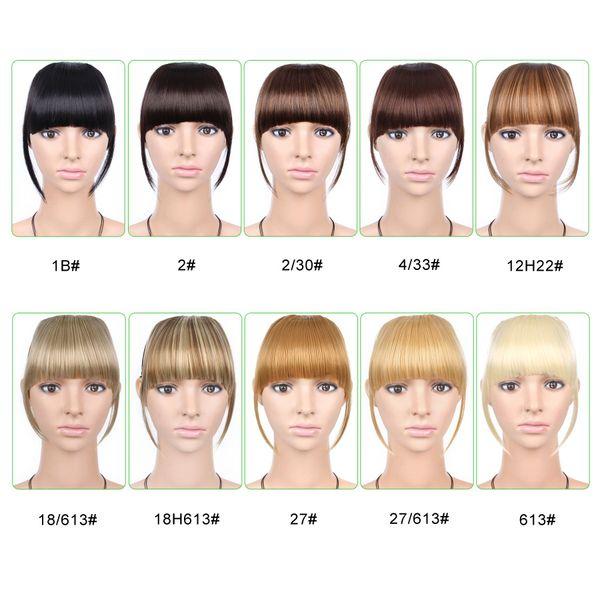 1 pc 6 polegada Frente Fraco Brincos Clipe na franja franja Extensões de cabelo em linha reta Sintético 100% Real natural peruca