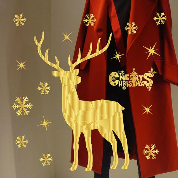 Janela de natal adesivos floco de neve rena santa vitrine sem cola eletrostática natal decorações ao ar livre natal parede st