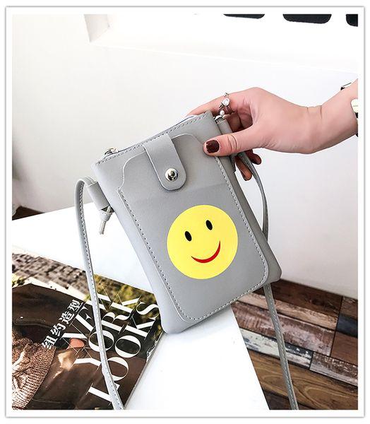 2018 Japan and Korean Style ladies smiling face Simple Mini Cell Phone Pocket soft plain Zipper & Hasp PU leather single shoulder bag