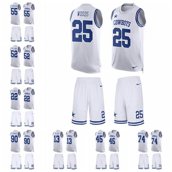3400e862b78 Dallas Limited football Jersey Cowboys White Tank Top Suit 4 Dak Prescott  21 Ezekiel Elliott 50