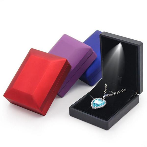 Jewelry Diamond Ring Earring Box LED Lighted Emitting Iron Display Storage Wedding Marry Propose Engagement Gift