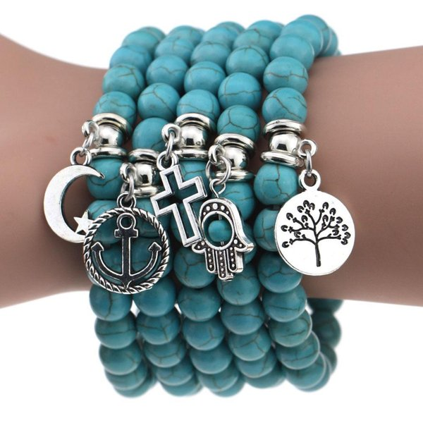 Boho Turquoise Beads Bracelets Green Natural stone Corss leaf Star Moon tree Charms Bracelet For women&men Handmade Jewelry KKA1731