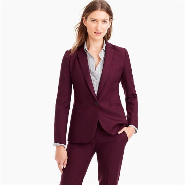 Fashion work wear women business pant suit slim fashion elegant formal fuchsia long sleeve office ladies trousers suits