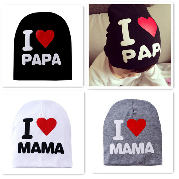 New Baby Hat Spring Autumn Baby Knitted Warm Cotton Beanie Hat For Toddler Baby Girl Boy I LOVE PAPA MAMA Print
