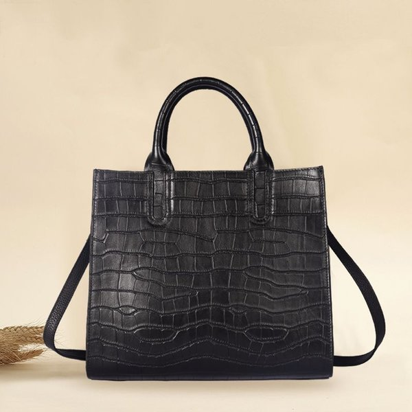 Genuine Leather Women Briefcase Bolsa Feminina Cowhide Leather Crocodile Women Handbag Fashion Black Crossbody Shouder Bag