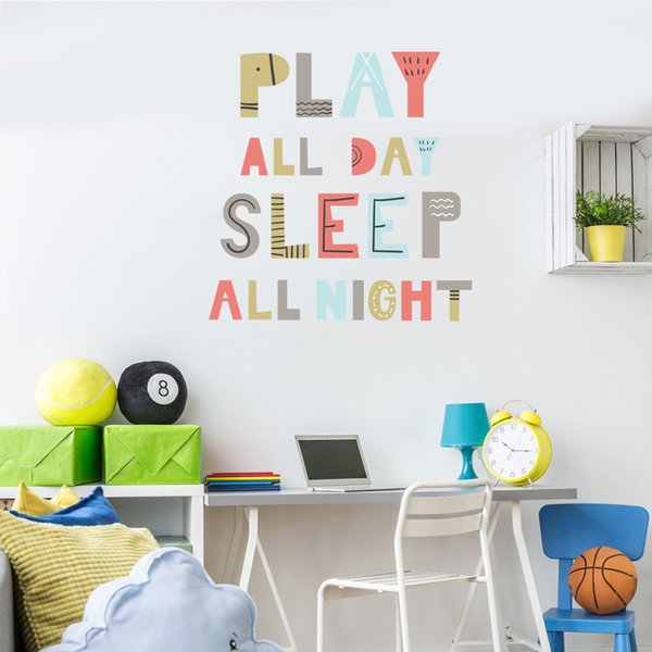 Play All Day Sleep All Light Wall Sticker Quotes Letter And Words Wall Art Decals For Kids Room Nursery Decoration Kids Wall Decor Tree Wall Decals