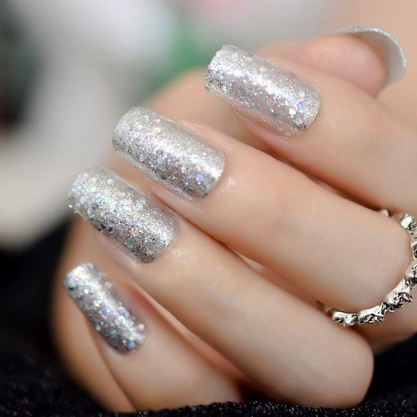 24pcs glitter argento quadrato medio unghie finte arte laser pre-progettato copertura completa acrilico punte unghie uniche
