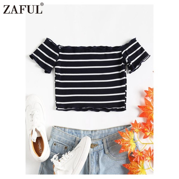 ZAFUL Color Block Striped Women T-Shirt Summer Slash Neck Off the Shoulder Short Frilled Sleeves Crop Top Cotton Knitted Tees