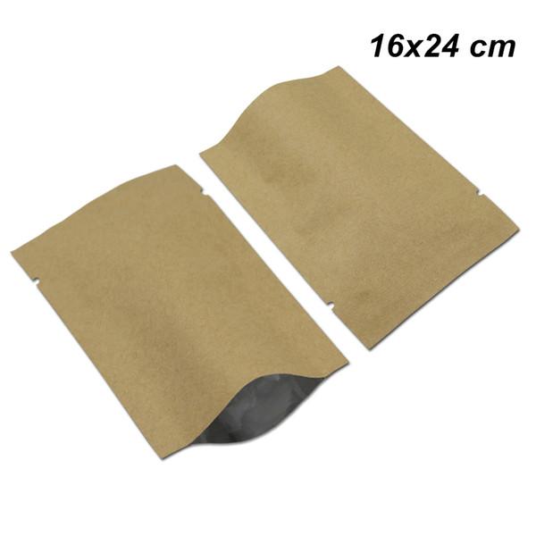 50 Pcs 16x24 cm Open Top Kraft Paper Aluminum Foil Food Grade Packaging Bags for Coffee Tea Powder Mylar Foil Craft Heat Seal Vacuum Pouches