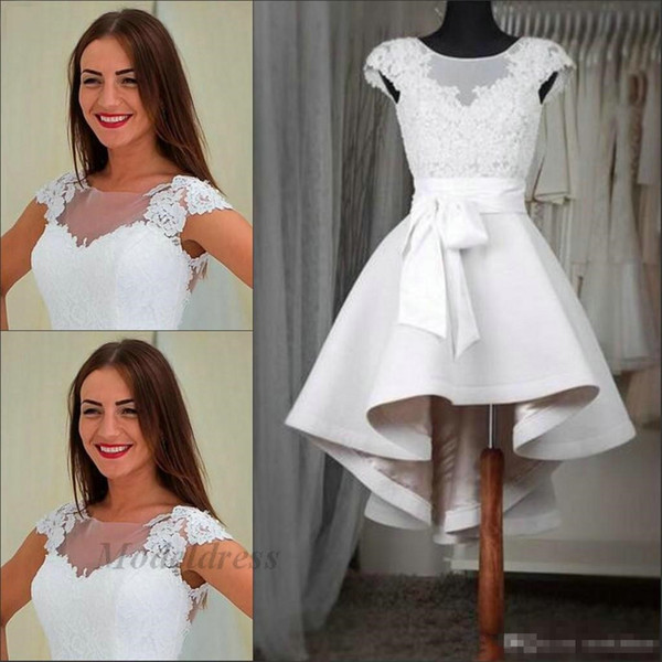 2018 Ivory Homecoming Dresses Hi Lo Lace Appliques Sashes A Line Sheer Neck Sleeveless Elegant Short Prom Dresses for Graduation Party