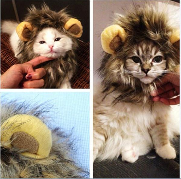 Moda gato peluca collar divertido león mascota traje Cosplay león melena peluca gato peluca con orejas para coche decoración falso león melena