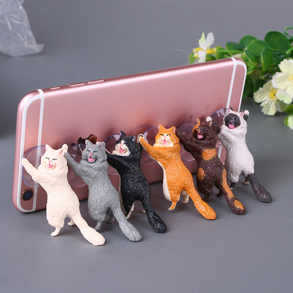 Universal Cartoon Mobile Phone Holders 6pcs/lot Cute Cat Cell Phone Mounts Stand Holders for Tablets Desk Car