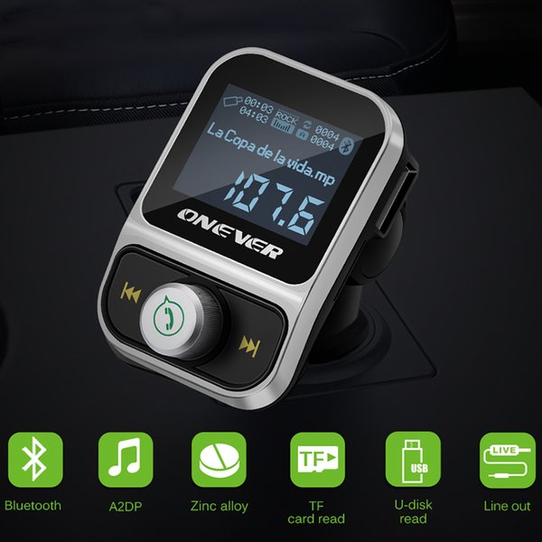 Onever Car MP3 Player FM Transmitter Wireless Bluetooth FM Modulator Handsfree Car Kit LCD Radio Audio 3.5mm AUX Adatper FLAC