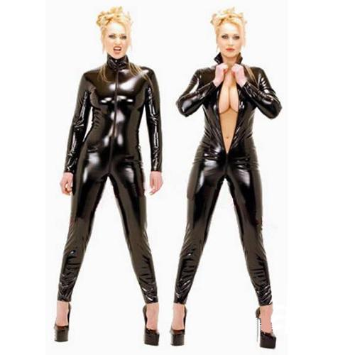 Sexy Black Faux Leather Catsuit Gothic Fetish Costume Women Fantasia Front Zipper Jumpsuit Pole Dance Costume Stretchy Leotard CA-0074