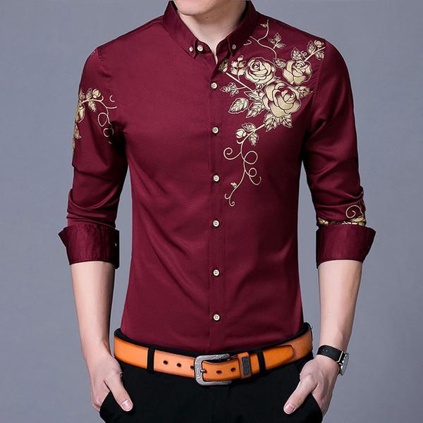 Brand Button Down Shirt Wine Red Men Fashion Golden Rose Flower Print Mens Dress Shirts Slim Fit Long Sleeve Chemise Homme