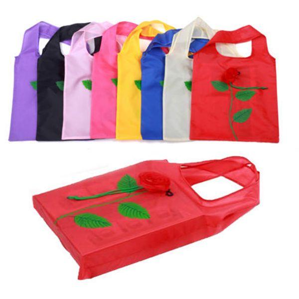 best selling Multi-color Rose Flower Reusable Shopping bag Reusable Eco Bags Foldable Shopping Travel Grocery Bag