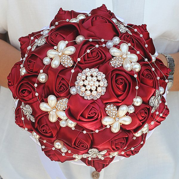 Wine Red Ribbon Roses Flowers Wedding Bridal Bouquet Pure Handmade Pearl Beaded Bouquet Diamond Flowers Wedding Bouquet W251a October Wedding Flowers