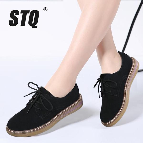 2018 Sonbahar kadın sneakers oxford ayakkabı daireler ayakkabı kadın deri süet lace up tekne ayakkabı yuvarlak ayak daireler moccasins 989