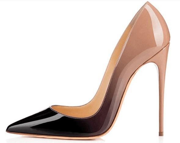 Sexy gradient color shallow mouth party pumps high heels shoes red bottom lady pointed toe leather 12cm stiletto heel pumps big size 34-46