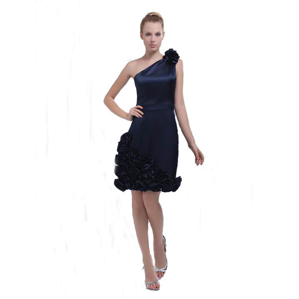 Competitive Price Navy Blue Ladies Party Dress Above Knee Length One Shoulder Sheath Design Short Dress With Handmade Flowers