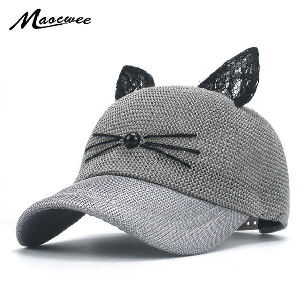 Girl s Cat Ear Baseball Cap Straw Mesh Breathable Snapback Hats Kids Boys  Baby Pink Black Gray Cute Baseball Caps Summer Bone 28261a44b840