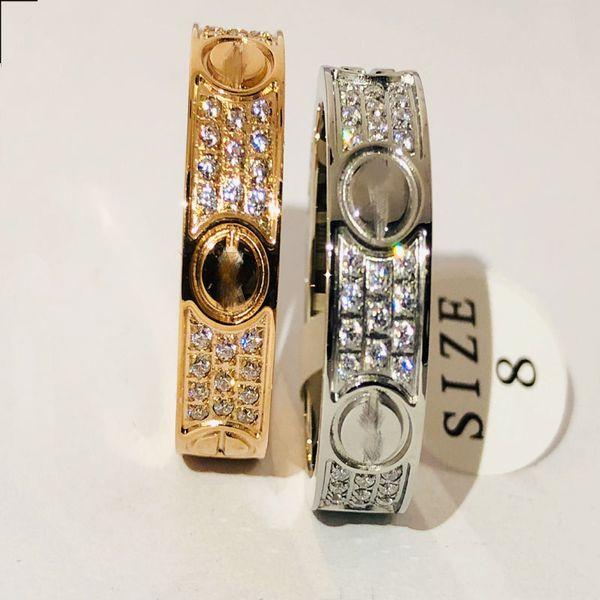 Moda Jóias Anel de Diamante Três Fileira Sparkly Austríaco Zircônia Strass Diamante Luxo Senhora e homem amante Anel de Casamento Jóias