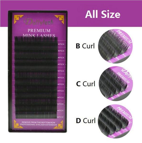 All Size BCD Curl Individual Mink False Eyelash Extension Soft Black Fake Eye Lash 9-14mm Makeup Tool