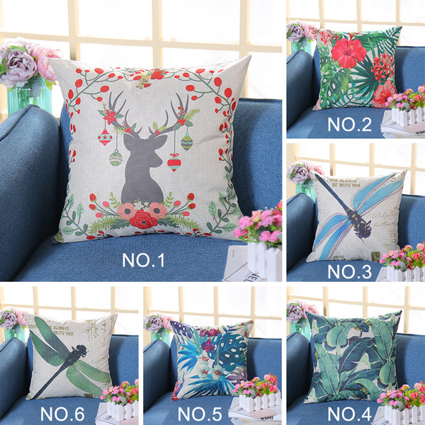 Funda de cojín de nuevo diseño Dragonfly Deer Elk Floral Leaves Printing Linen Throw Pillowcase Christmas New Year Gifts Pillow Case