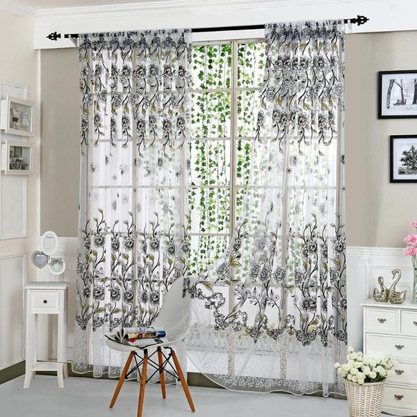 New Transparent Peony Printed Tulle Valances For Living Room Bedroom ...