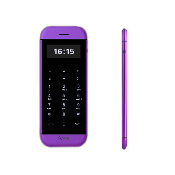 Original Anica T5 MP3 FM dual sim card cellphone bluetooth dialer OLED display touch key sync anti-lost mini credit card cell mobile phone