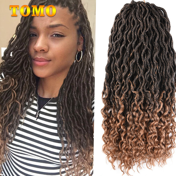 TOMO 18Inch Crochet Braids Goddess Faux Locs Curly End Dreadlock Hair Bluk Kanekalon Synthetic Dreadlocks Ombre Hair Extensions 24Roots/pack