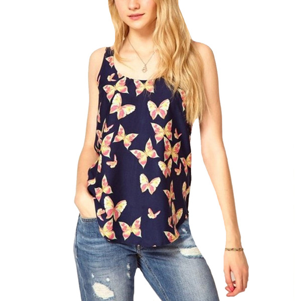 Летняя блузка женщины без рукавов топ футболка Женская топы бабочка печатных камзол Blusas Femininas S-XXXL плюс размер рубашки
