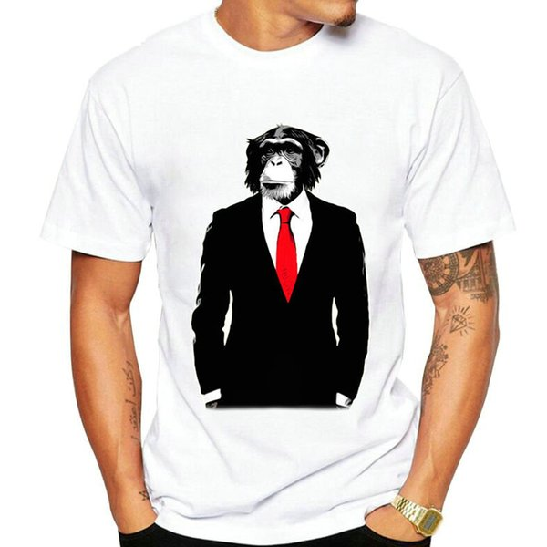 Business suit monkey t shirt Gentleman orangutan short sleeve gown Street tees Unisex clothing Quality modal Tshirt