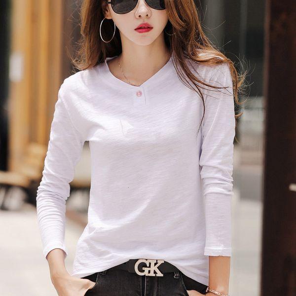 Fashion Women Tshirt Plus Size Long Sleeve Female T-shirt Green Cotton Tops Tees Camiseta Mujer 2019 Casual T-shirts Femme