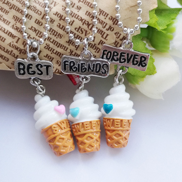 Cute 2.7*1.3cm BBF Best Friends Forever Ice-Cream Pendant Kids Chokers with 41+7cm Chain Resin Cartoon Necklaces 3pcs/lot