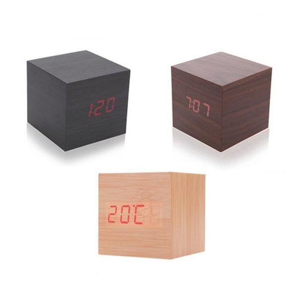 Nouveau moderne en bois bois numérique LED bureau réveil thermomètre minuterie calendrier rouge LED alarme numérique cadeau décoration maison créative