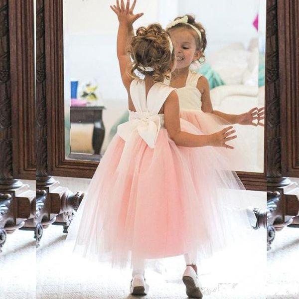 2019 Flower Girl Dresses Princess Ivory White Light Pink Puffy Tulle Flowergirl Dress Kids Formal Gowns for Weddings Ankle Length Girls Wear