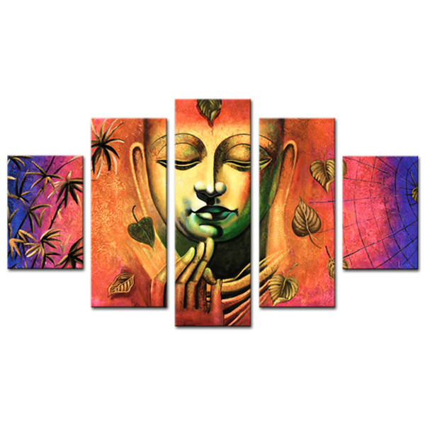 Oil painting canvas painting wall art Buddha artwork with wooden frame for home decor ready to hang gifts