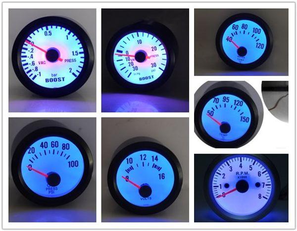 top popular Boost Water Temp Oil Temp Oil Press Voltage Tachometer RPM Gauge 2''52mm Analog led Black Case With Blue LED 2021
