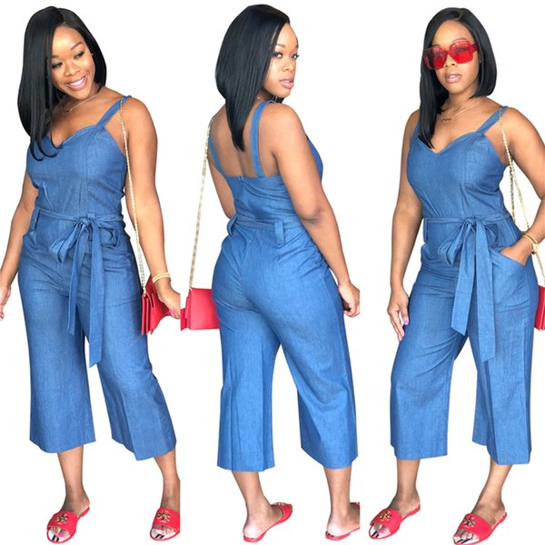 Denim Overalls Hot Sale Women Summer Jeans Denim Jumpsuits and Rompers Casual Light Blue Loose Bodycon Plus Size Jumpsuits with Belt