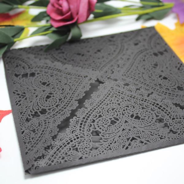 Black Luxury Romantic Arab Flower Heart Laser Cut Wedding Invitation Paper Card Free Shipping From China