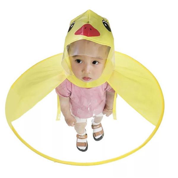 1 pz Creativo Impermeabile Ombrello Copricapo Cappello Cap Pieghevole Giocattoli All'aperto Bambino Adulto Cappotto di Pioggia Coperchio Giallo Anatra Ombrelli Giocattoli
