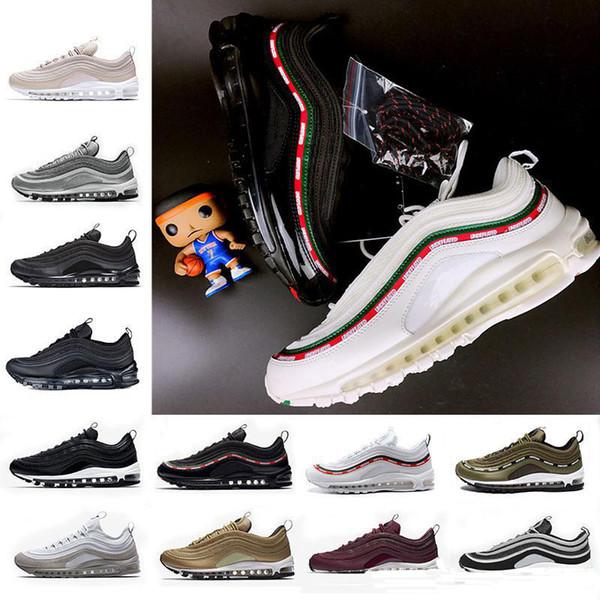 En iyi Yeni Erkek Sneakers Ayakkabı klasik 97 Erkekler Koşu Ayakkabı Siyah Beyaz Eğitmen Hava Yastığı Nefes Adam Yürüyüş Spor Ayakkabıları Eur 36-46