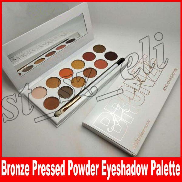 New makeup bronze Pressed Powder Palette Eyeshadow Palette 12 Colori opachi ombretto Tavolozza con pennello DHL Free