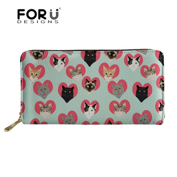 FORUDESIGNS Spectacular Cats Pattern Women Wallets Leather Ladies Minimalist Wallet for Girls Long Passport Cover Phone Bag Coin