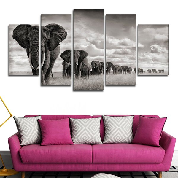 Wall Art Posters Modular Frame 5 Pieces Home Decoration Elephant Walking On The Grassland Canvas Paintings HD Printed Pictures