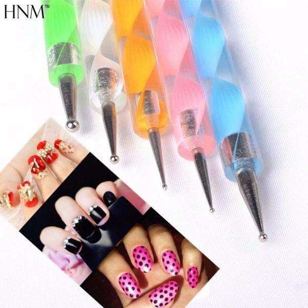 HNM 5 pcs 2way Dotting Pen Nail Art Outils 3D Stylo Peinture Manucure Outils UV Gel Nail ANail Polish