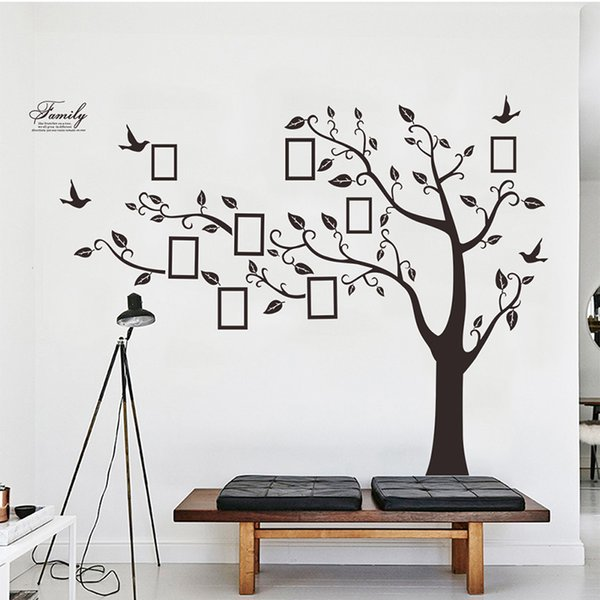 Large Black 3D DIY Photos Frame Trees PVC Wall Decals/Adhesive Family Wall Stickers Mural Art Home Decor Living Room Decorationshaif