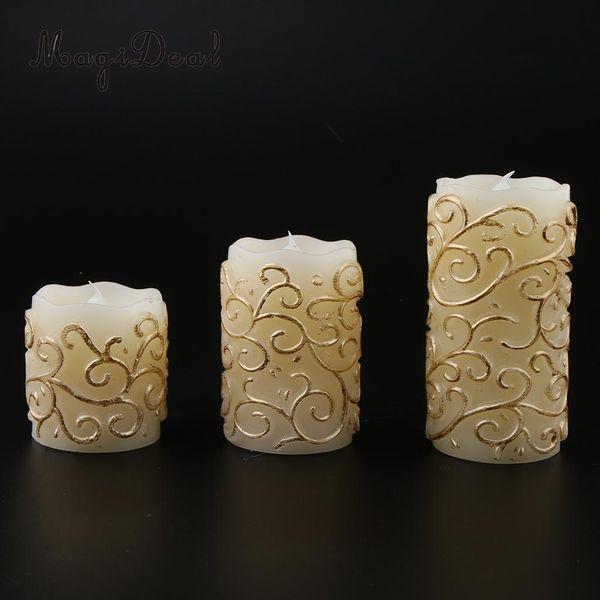 Vela chamejante da vela das luzes do chá 3pcs da vela que cinzela testes padrões