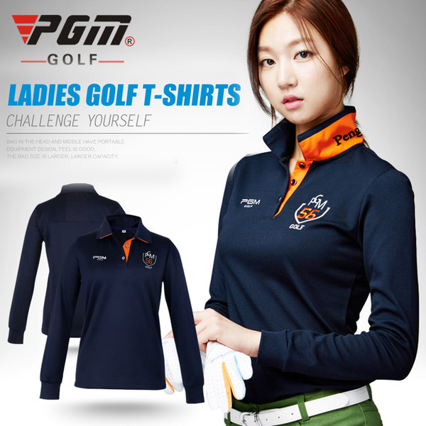 best selling pgm golf clothes golf women's long-sleeve POLO shirt autumn and winter Korean shirts